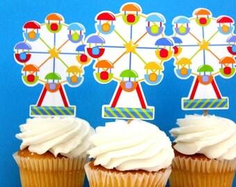 Carnival Circus Ferris Wheel Die Cut Cupcake Topper (One Dozen)
