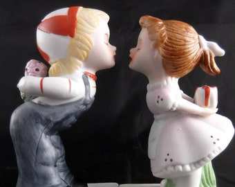 Vintage Figurines Boy and Girl Figurine Kissing Couple First Kiss