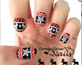 Cozy Christmas Sweater Nail Polish Strips. Winter Nail Wraps. Nail Decals.