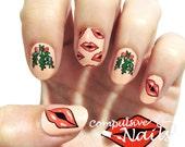 Christmas Nail Wraps. Mistletoe Nail Decals.