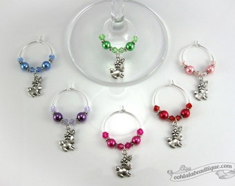Spring wine charms, drink markers, Easter wine charms, table ornaments, wine glass charms, wine glass marker, housewarming gift, drink tags