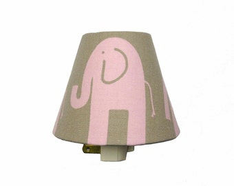 Elephant Night Light / Baby Girl Pink Gray Bella Nursery Decor / Premier Prints Safari