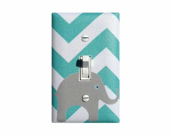 Aqua Gray Chevron Elephant Light Switch Plate / Pool Teal and White Baby Girl Boy Nursery Decor Switchplate / Slightly Smitten Kitten