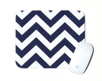 Chevron Mouse Pad / Navy Blue and White / Home Office Decor / Zig Zag / Premier Prints