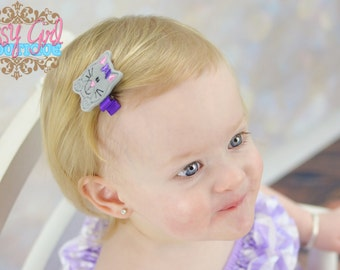 Girls Hair Accessories -Animal Felt Hair Clip -Embroidered Boutique Farm Cat-.Kitty Felt Hair Clippie -No Slip Grip