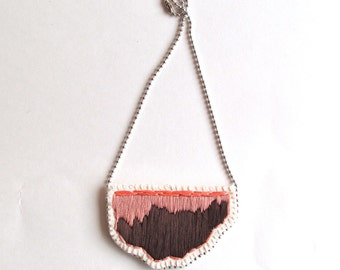 Embroidered pendant necklace with peach, dark brown and taupe on a silver ball chain perfect for Spring and Summer MADE TO ORDER