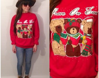 Vintage 90s Red Christmas Sweater Bears Caroling Singing Red Peace On Earth Ugly Christmas Sweater Size Medium