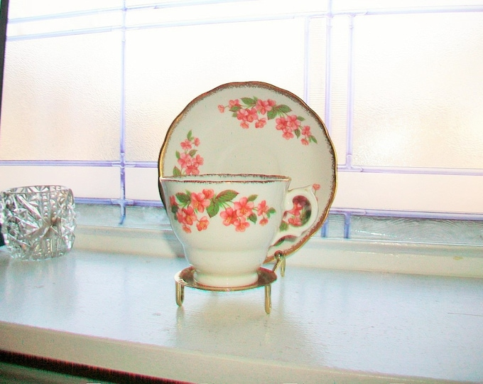 Vintage Royal Malvern Tea Cup and Saucer Bone China Made in England Floral Decor