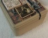 Music Themed Wood Trinket Box - Mixed Media
