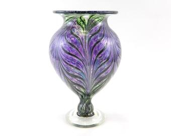 Purple Hand Blown Glass Vase