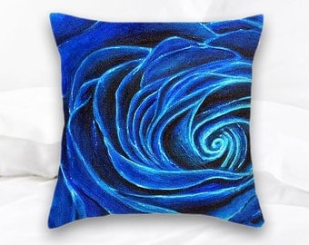 Blue Rose | Throw Pillow | Home Decor | Decorative Pillow | Royal Blue Rose | Rose Pillow | Floral | Flowers | Blue Pillow | Cushion | Roses
