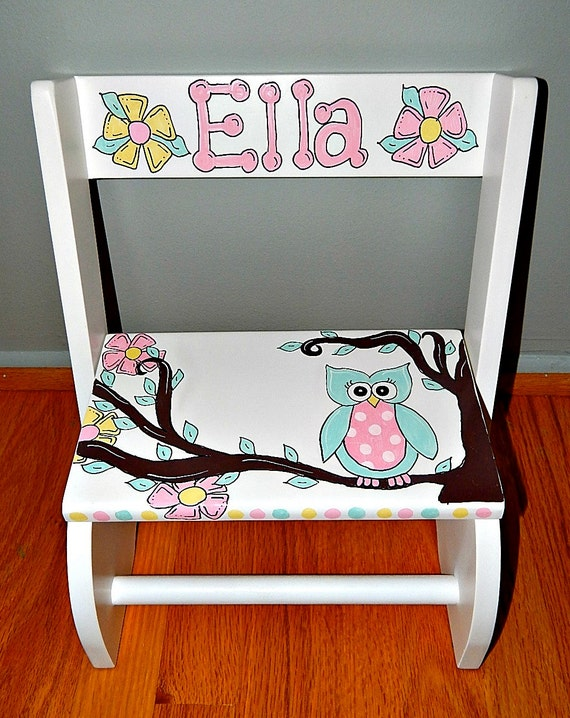 Owl Step Stool Hand Painted And Personalized
