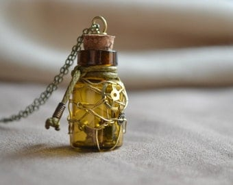 Miniature Bottle Terrarium Necklace Steampunk Jewelry Gears Cogs Watch Parts Recycled