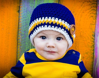 Crochet Striped Hat with Button - Baby Boy or Baby Girl Crochet Hat Photography Prop All Sizes from Newborn to Adult