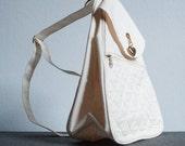 Vintage Off White Canvas Small Backpack or Handbag