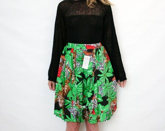 Vintage Deadstock Jungle Print Petite Skirt