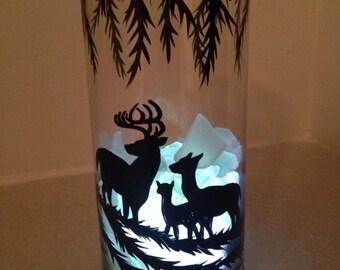 Hand painted Glass Deer Night light