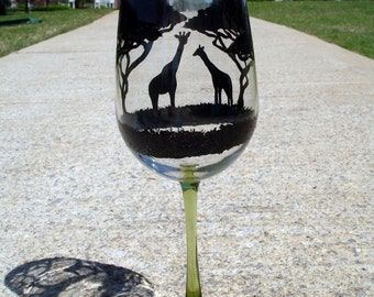 Hand painted giraffe wine glasses (clear glass/green tinted stem)