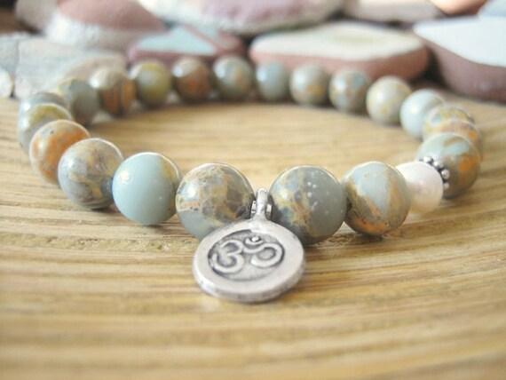 Om Bracelet - Aqua Terra Jasper Bracelet, Variscite Beads, Pearl and Silver Om Charm