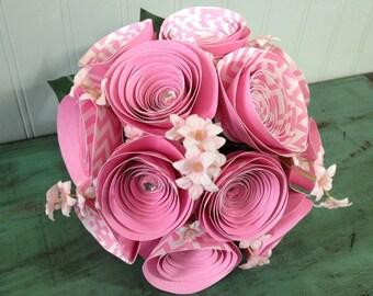 Dozen Pink Chevron Paper Roses Bouquet