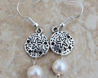 Lovely Minimalist Sterling Silver Sand Dollar Dangle Earrings, Freshwater Pearl 1 1/2 inches