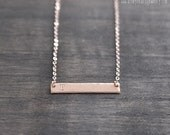 Rose Gold Bar Hand Stamped Necklace Hammered Initial Necklace Personalized Horizontal Bar