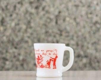 Fire King D Handle Mug - Retro Coffee Mug - Bless This Food Prayer - Red Font Graphics