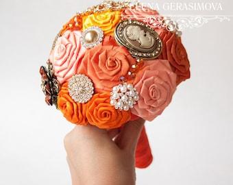 Bridesmaids Brooch bouquet, orange vintage brooch bouquets.