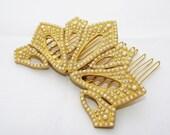 Bridal Hair Comb , Pearl hair pin , Wedding hair piece , Bridal hair accessories , Accent hair , Wedding accessories , Bridal gold headpiece