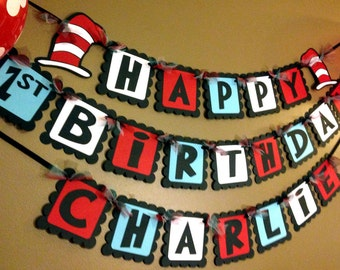 Cat in the Hat Dr. Suess Inspired Happy Birthday Banner