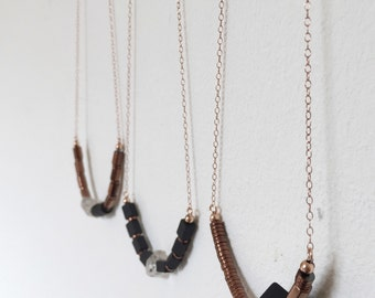 Onyx Necklace : Matte Onyx Cube and Copper Hematite on Rose Gold-filled Necklace, gifts for her, bridesmaid