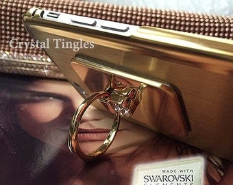 Unique Custom Design 360 Degree Rotation Gold Diamond Finger Ring Kickstand Aluminum Metal Case Made w/ Swarovski Elements For iPhone 6s