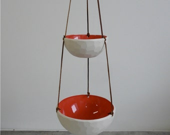 Hanging Fruit Basket, Two Tiered Porcelain and Leather, Choose your glaze color