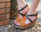 Vegan Ethnic Womens Sandals Tangerine Hmong Embroidery Faux Leather Straps Wedge Heel - Leighnna