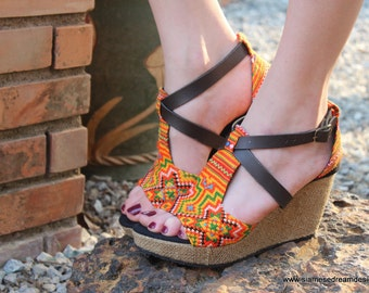 Vegan Ethnic Womens Sandals Tangerine Hmong Embroidery Faux Leather Straps Wedge Heel - Leighanna