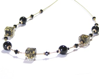 Genuine Murano Glass Black Gold Necklace, 24 Inch Length, Venetian Jewelry, Gifts For Her, Lampwork Bead Necklace, Gold Filled