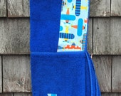Boys Personalized Hooded Towel Blue with airplanes planes Bath Pool Beach Towel Boys Kids Toddler Birthday Easter Gift Idea