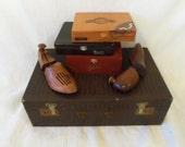 Vintage Maximillian Leather Suitcase Brown Faux Alligator / Crocodile Steampunk Travel Luggage