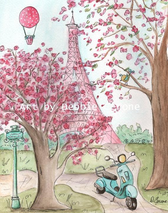Pink Paris Eiffel Tower Wall Art Paris Decor French Nursery