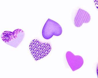 Violet purple garland in paper hearts