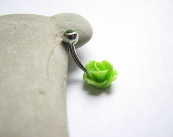 Non Dangle Belly Button Jewelry, Small Belly Bar Flower Rose Belly button Rings, Dainty Bellybutton Ring, Navel Piercing, Cute Belly Ring