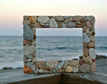 Stone Picture Frame 4.5 x 6.5 - Florida Atlantic Ocean Flat Rock Beach Pebble Mosaic Art Rustic Coastal Home Decor Eco-Friendly - TheSandbar