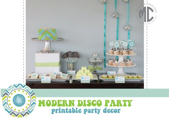 PRINTABLE PARTY COLLECTION -- Chevron Disco Party Collection -- Mirabelle Creations