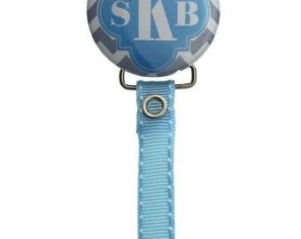 Personalized Monogram Grey & Light Blue Pacifier Clip (PER65)