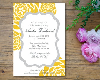 Yellow and Gray Grey Baby Shower Invitation - customized 5x7 printable - modern flower print yellow and gray baby shower invites