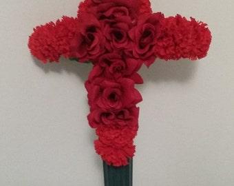 Gravesite Floral Cross // Memorial Cross // Cemetery Silk Flowers // Funeral Flowers