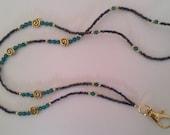 ID Badge Holder Name Tag, GOLD & Green Swarovski Crystals and Rainbow Black, Beaded Lanyard Fashion Necklace