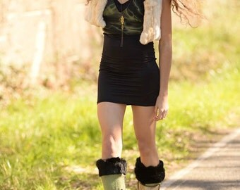 Cream Rabbit Fur Vest by Vintage Creations One of a kind recycled from vintage fur