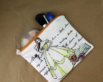 Disney's Princess Belle Bag, Zipper Pouch, Make Up Bag, Beauty and the Beast, Electronics Bag