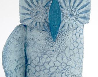 "Ceramic owl sculpture, owl art, owl home decor, free standing owl sculpture, hand built, one of a kind, ""Jag"""
